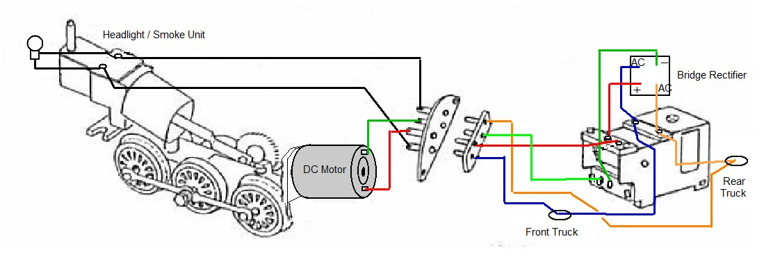 Schematic for Wiring a DC motor with a conventional AC ... on